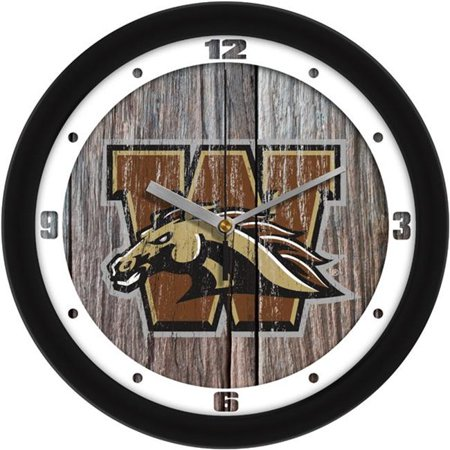 Suntime ST-CO3-WMU-WWCLOCK Western Michigan Broncos Weathered Wood Wall Clock