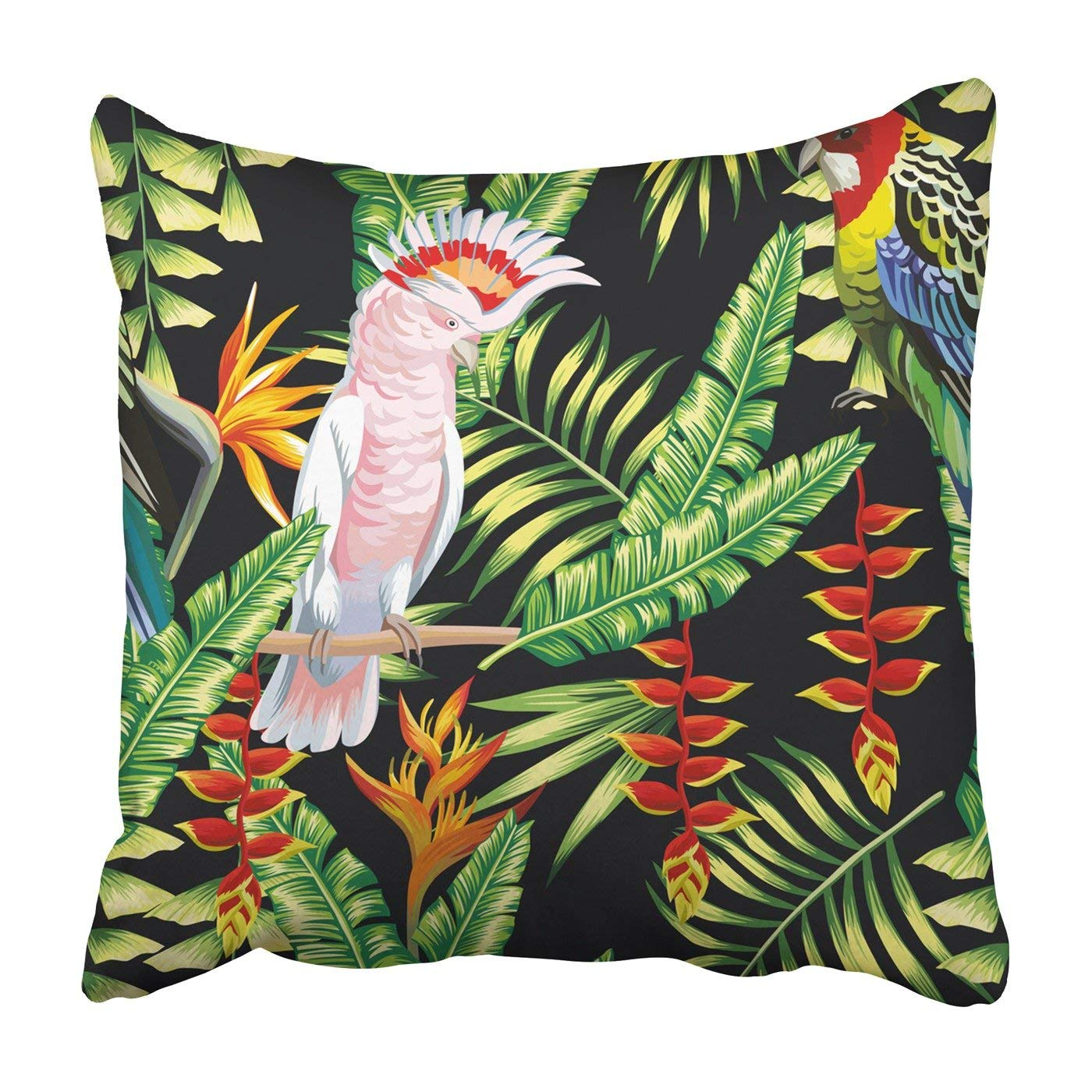 WOPOP Tropic bird macaw and multicolor parrot Pillowcase Throw Pillow Cover Case 20x20 inches