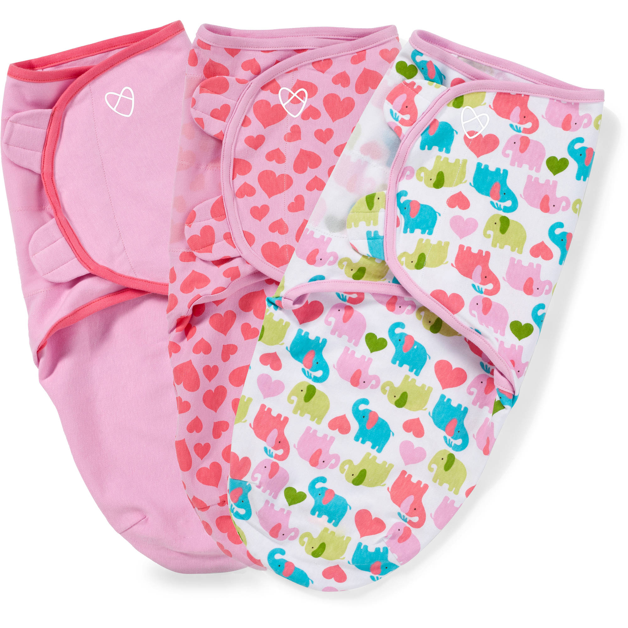 SwaddleMe Original Swaddle, 3-Pack, Elephant Hearts, Small