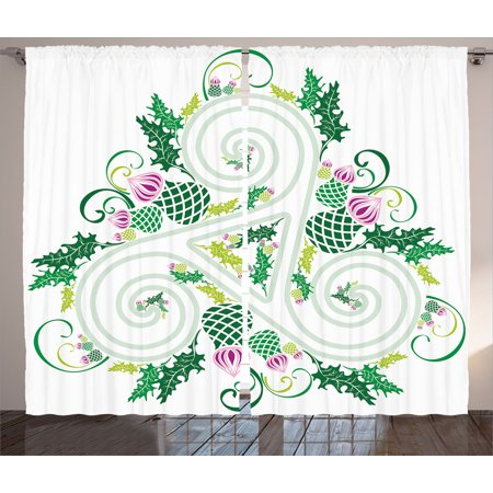 - Celtic Decor Curtains 2 Panels Set, Three Legged Macro Single Celtic Form with Curved Lines Extending Centre Print, Window Drapes for Living Room Bedroom, 108W X 84L Inches, Green Pink, by Ambesonne