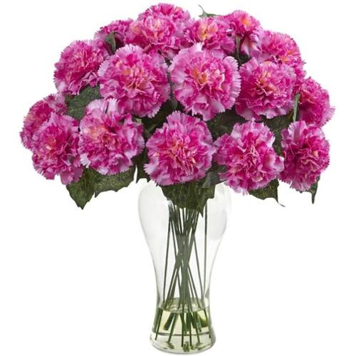 Nearly Natural Blooming Carnation Arrangement with Vase
