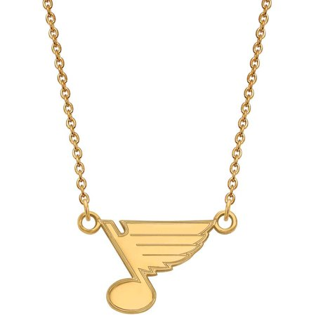 LogoArt NHL St. Louis Blues 14 Karat Gold Plated Sterling Silver Small Pendant with Necklace Louis Vuitton Pendant