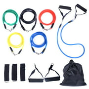 Jaxpety 11 PCS Resistance Band Set Yoga Pilates Abs Exercise Fitness Tube Workout Bands