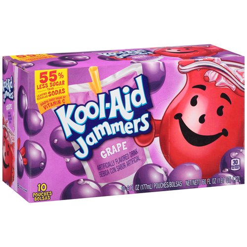 Kool-Aid Jammers Grape Drink, 6 fl oz, 10 count