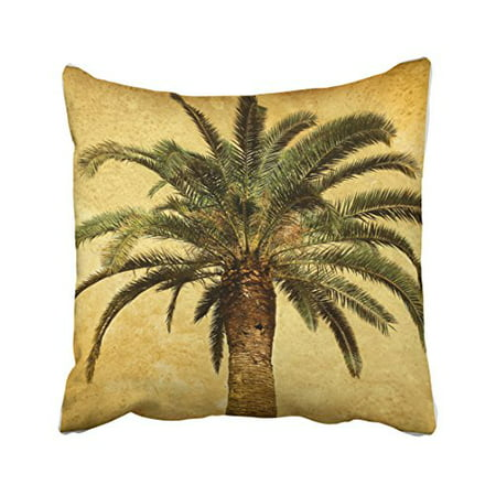 WinHome Vintage Shabby Chic Retro Palm Tree Tropical Watercolor Hipster Polyester 18 x 18 Inch Square Throw Pillow Covers With Hidden Zipper Home Sofa Cushion Decorative Pillowcases
