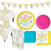 Little Honey Bee Gender Reveal Party Supplies for 32 Guests, Include Decorations