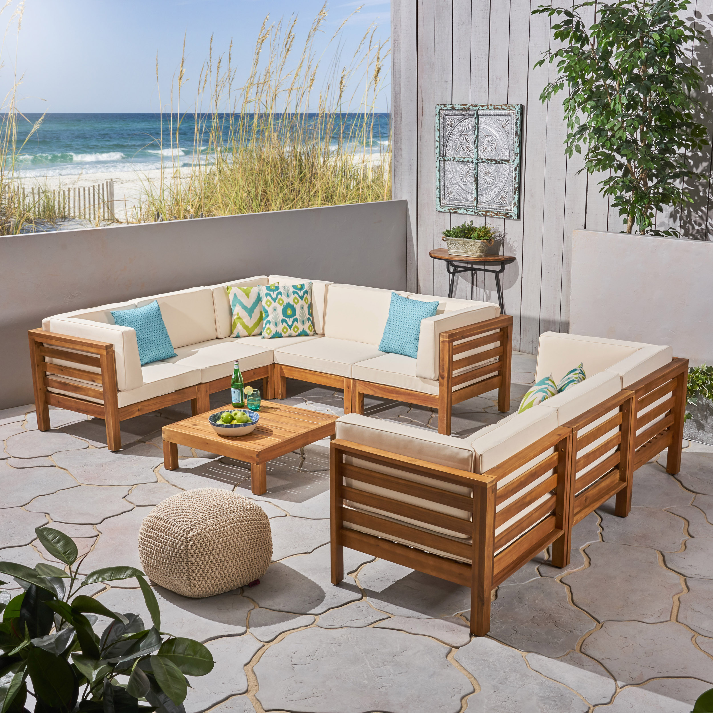 Frankie Outdoor 9 Piece Acacia Wood Sectional Sofa Set with Coffee Table and Cushions, Gray, White