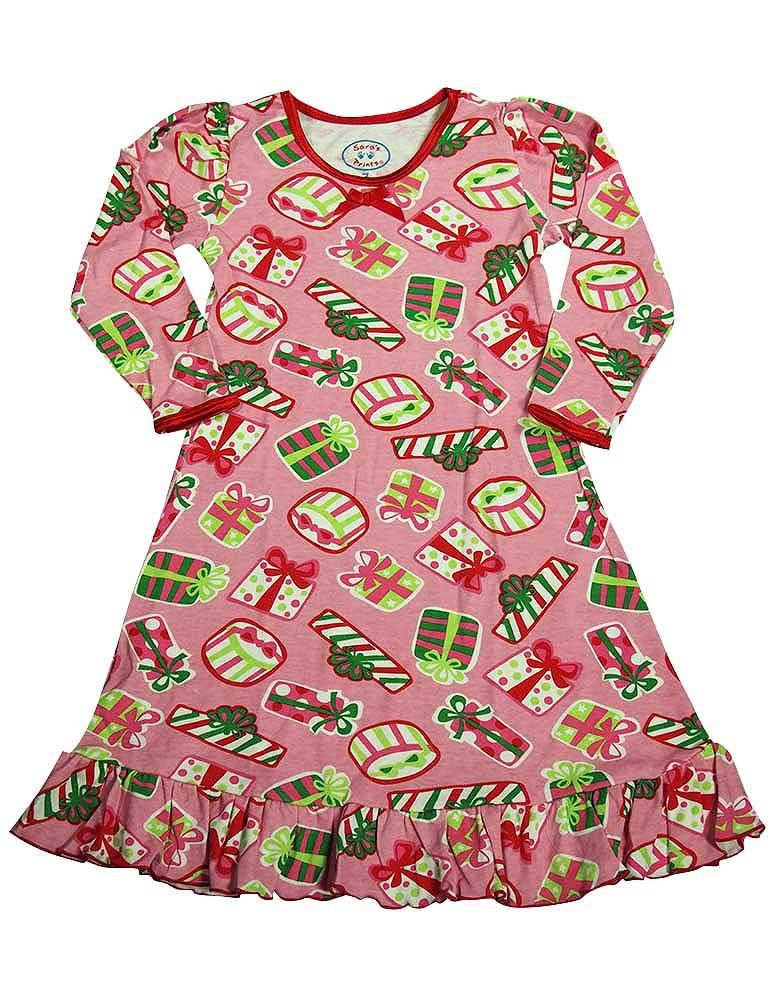Saras Prints Toddler Girls Long Sleeve Gown Holiday Ruffle Flame Resistant, 32719 Pink Presents / 3