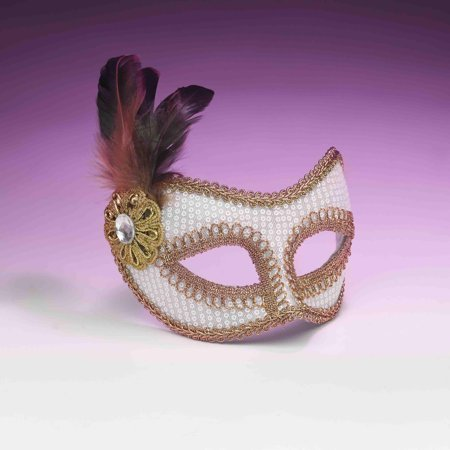 White And Gold Sequin Costume Fashion Masquerade Mask With Feather One Size