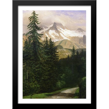 Landscape with Snow Capped Mountains 28x38 Large Black Wood Framed Print Art by Albert - Snow Capped Mountain