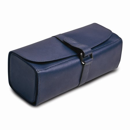 Leather Rolled Strap - Blue Leather Snap Strap Large Jewelry Roll