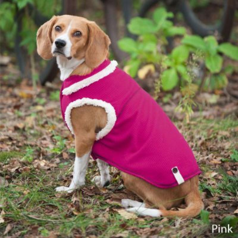 Fashion Pet Outdoor Dog Ribbed Polar Fleece Vest, X-Small, Pink