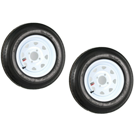 2-Pack Trailer Tires On White Rims 530-12 5.30-12 5.30 x 12 Load C 4