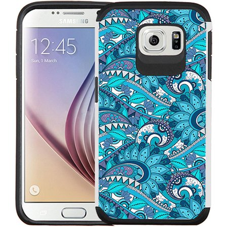 Galaxy S6 Case - Armatus Gear (TM) Slim Hybrid Armor Case Protective Cover for Samsung Galaxy S6 (Not Compatible with Galaxy S6 Edge) - Blue Wave Pattern (Samsung Galaxy Gear Circle)