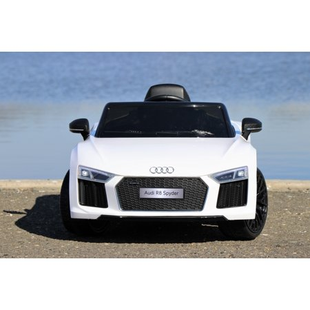 First Drive Audi R8 White Licensed Dual Electric Motor 12V Kids Ride-On Car & Remote