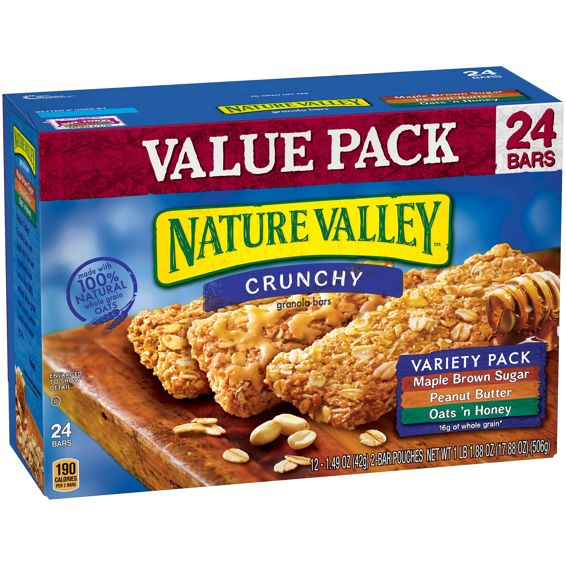 (3 Pack) Nature Valley Crunchy Granola Bar Variety Pack of Maple Brown Sugar Peanut Butter and Oats 'n Honey Bars 1.49 oz 12/2-Bar Pouches 24 ct Value Pack Box