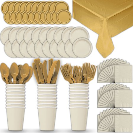 Gold Dinner Knife - Paper Tableware Set for 24 - Cream & Gold - Dinner and Dessert Plates, Cups, Napkins, Cutlery (Spoons, Forks, Knives), and Tablecloths - Full Two-Tone Party Supplies Pack