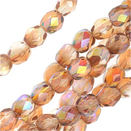 - Czech Fire Polished Glass, Faceted Round Beads 4mm, 40 Pieces, Crystal Brown Rainbow