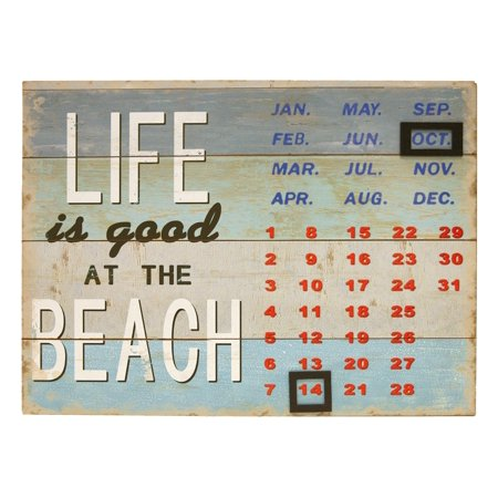 Life Is Good At The Beach Perpetual Metal Wall Calendar 13 Inches