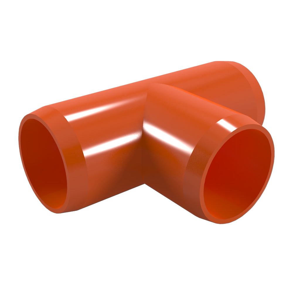 "FORMUFIT F034TEE-OR-8 Tee PVC Fitting, Furniture Grade, 3/4"" Size, Orange , 8-Pack"