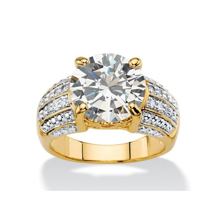 6.40 TCW Round White Cubic Zirconia Multi-Row Two-Tone Engagement Ring 14k Gold-Plated