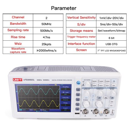 UNI-T Desktop Digital Storage Oscilloscope Dual Analog Channels 7 Inch