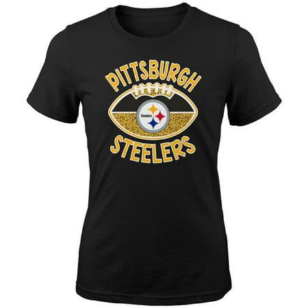 3589319eb41 Girls Youth Black Pittsburgh Steelers Glitter T-Shirt - Walmart.com