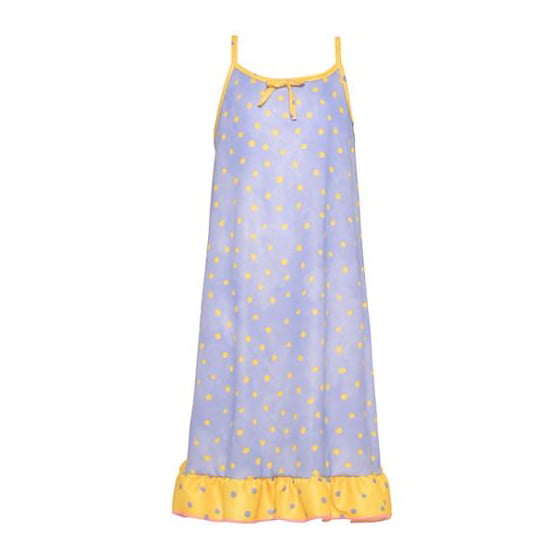 0b0308ab8e Laura Dare - Big Girls Yellow Purple Polka Dot Bow Ruffle Trim Nightgown 8  - Walmart.com