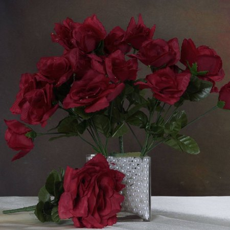 Efavormart 84 Artificial Open Roses for DIY Wedding Bouquets Centerpieces Arrangements Party Home Decorations Wholesale Supplies (Red Wooden Roses)