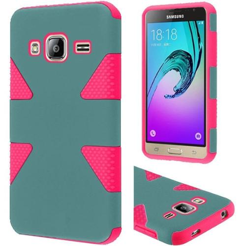 Insten Dynamic Hard Dual Layer Rubber Coated Case For Samsung Galaxy Amp Prime / J3 (2016) - Teal/Hot Pink