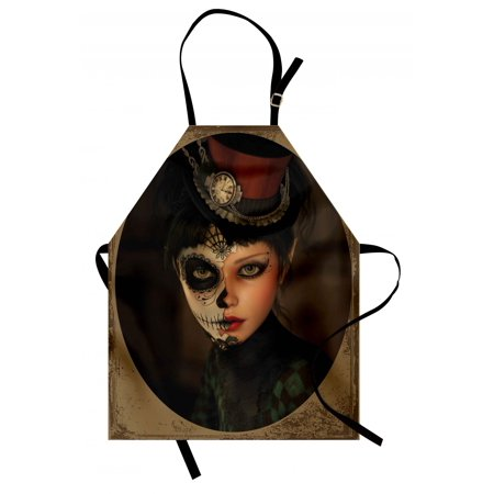 Sugar Skull Apron Antique Portrait Girl with Calavera Inspired Makeup and Topper Realistic Design, Unisex Kitchen Bib Apron with Adjustable Neck for Cooking Baking Gardening, Multicolor, by Ambesonne](Calavera Girl)