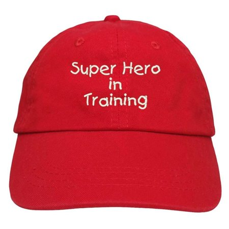 Trendy Apparel Shop Super Hero In Training Embroidered Youth Size Cotton Baseball Cap