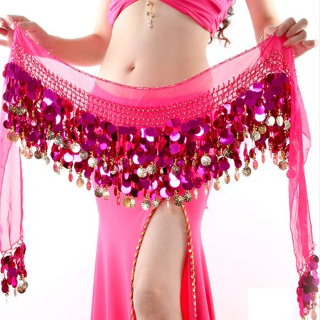 Belly Dance Hip Wrap Scarf Skirt Belt Costume with Gold Coins&Sequins for $<!---->