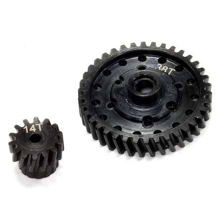 Integy RC Toy Model Hop-ups C24952 Billet Machined Steel Gear Set 38T+14T for Axial 1/10 Off-Road EXO Terra Buggy ()
