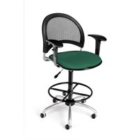 OFM Moon Series Model 336-AA3-DK Fabric Swivel Task Chair with Arms and Drafting Kit, Shamrock Green