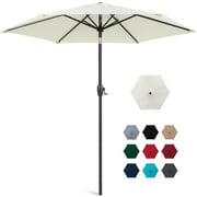 Best Choice Products 7.5ft Heavy-Duty Outdoor Market Patio Umbrella w/ Push Button Tilt, Easy Crank Lift - Cream