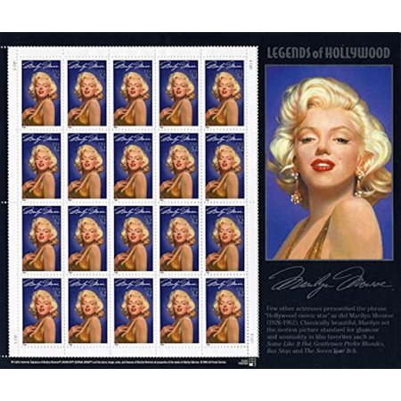 Marilyn Monroe: Legends of Hollywood, Full Sheet of 20 x 32-Cent Postage Stamps, USA 1995, Scott 2967, Marilyn Monroe - 1st in the Legends of Hollywood Series. By USPS Ship from US