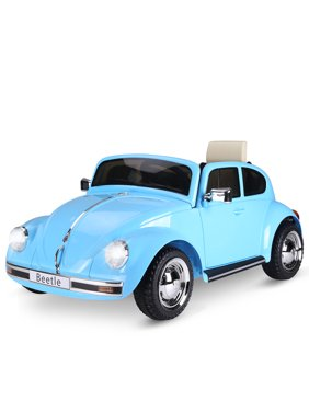 Aosom Licensed Volkswagen Beetle Electric Kids Ride-On Car 6V Battery Powered Toy with Remote Control Music Horn Lights MP3 for 3-8 Years Old