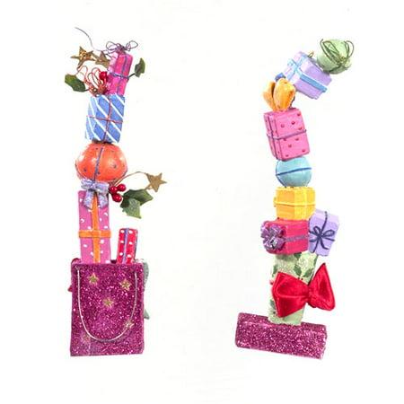 Kurt S. Adler 2ct Glittered Stacked Gifts Christmas Ornament Set 6