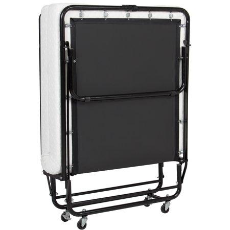 City Wheels Twin (Best Choice Products Folding Rollaway Twin XL Sized Mattress Guest Bed w/ 4in Memory Foam, Locking Wheels. Steel Frame  - Black)