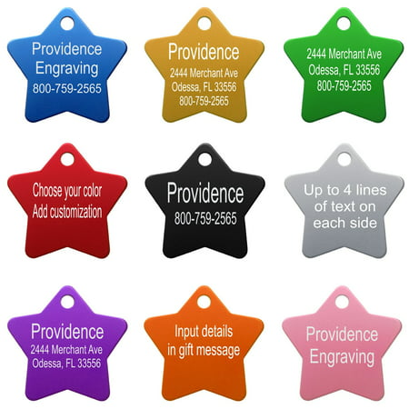 d716992a Pet ID Tags - Up to 8 Lines of Custom Engraving - Small Star - BLACK -  Walmart.com