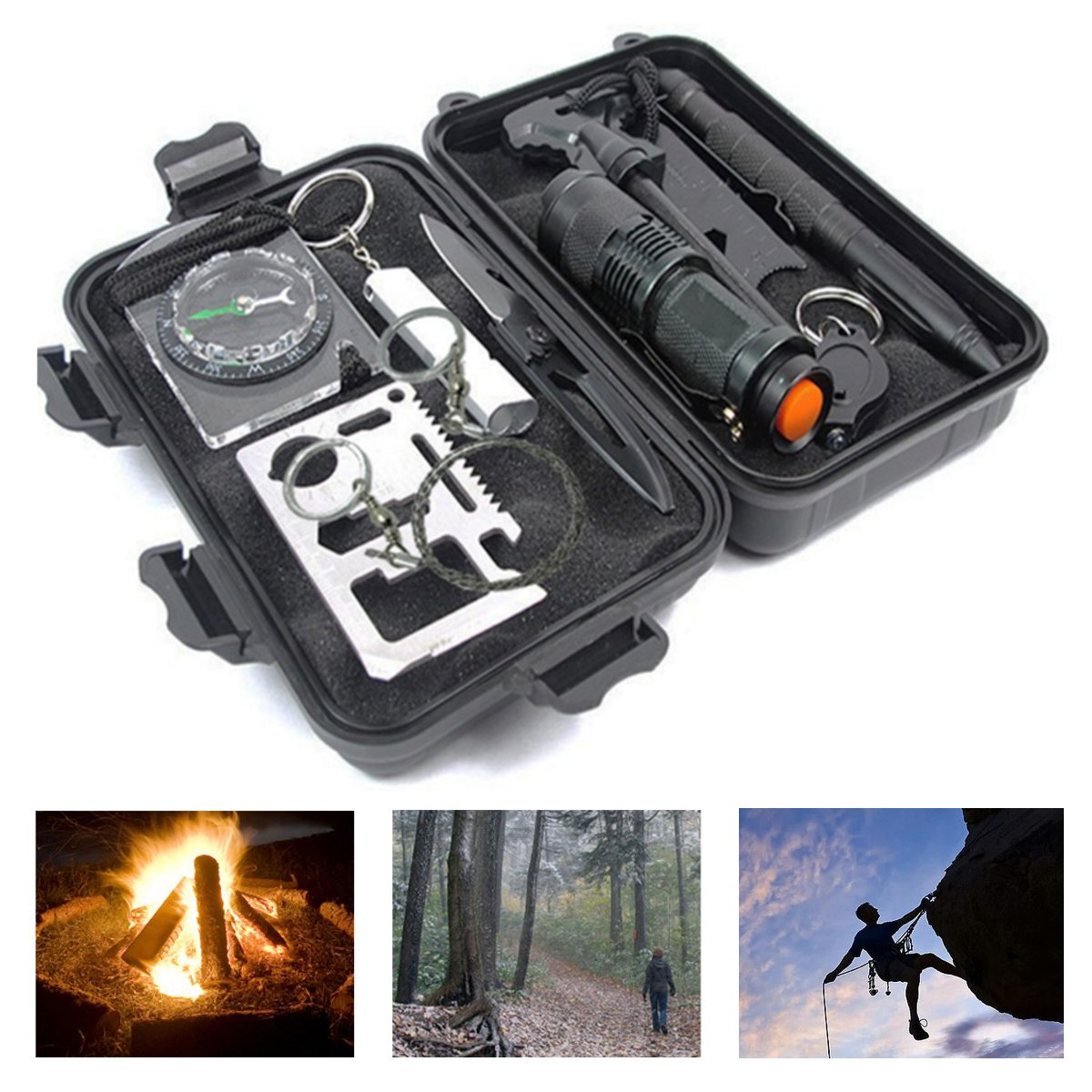 10 in 1 Emergency Survival Kit Outdoor Gear Tool SOS Box Tactical Hiking Camping by