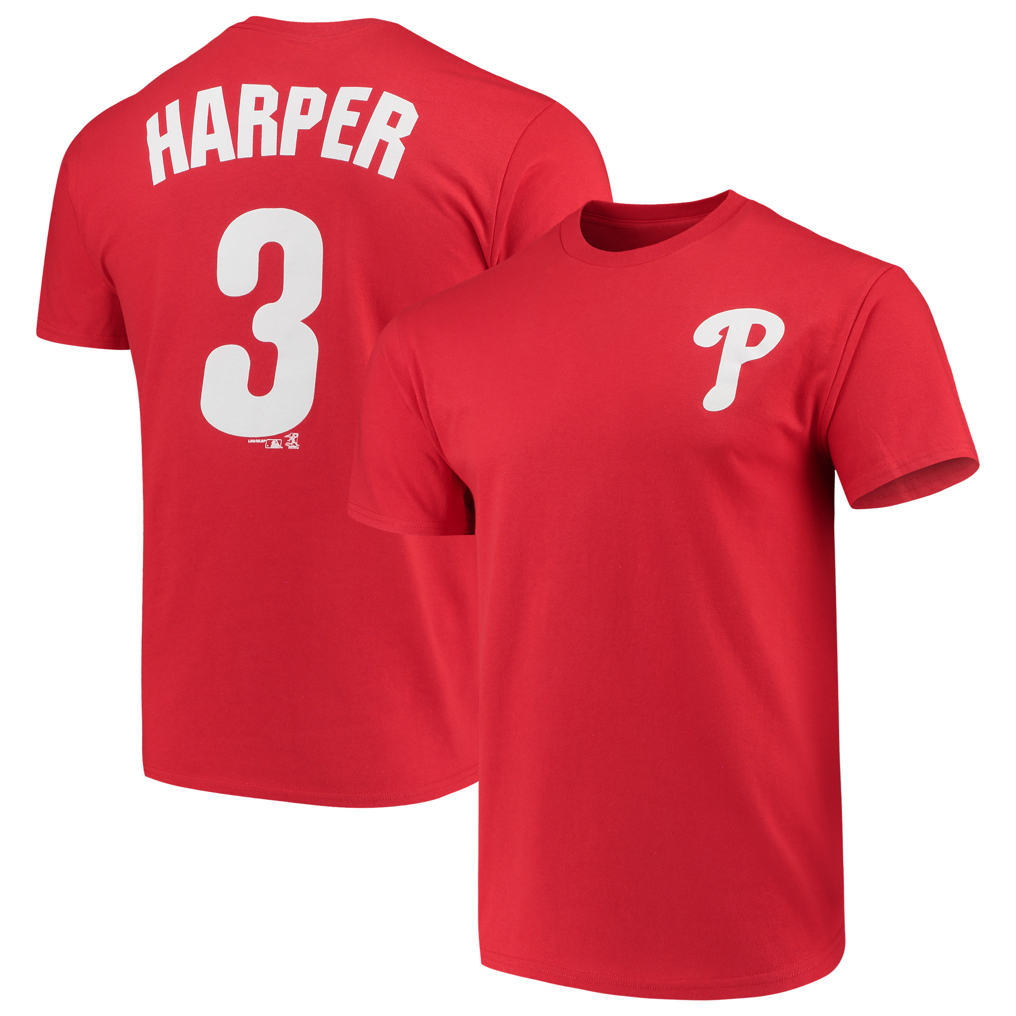 lowest price 6f7c3 6a7b2 Men's Majestic Bryce Harper Red Philadelphia Phillies Name & Number T-Shirt