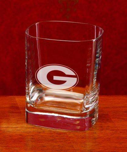 Georgia Bulldogs Deep Etched Square Double Old Fashion Glass