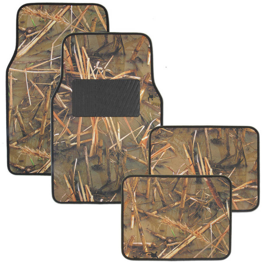 Muddy Water Camo Floor Mats, Water Resistant Vinyl Rubberized Backing 4-Piece Front and Rear Set, Swamp Camouflage