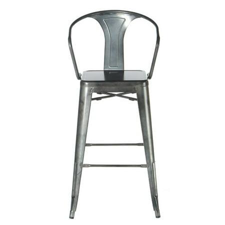 Tolix-style Arm Counter stool - Gunmetal Grey