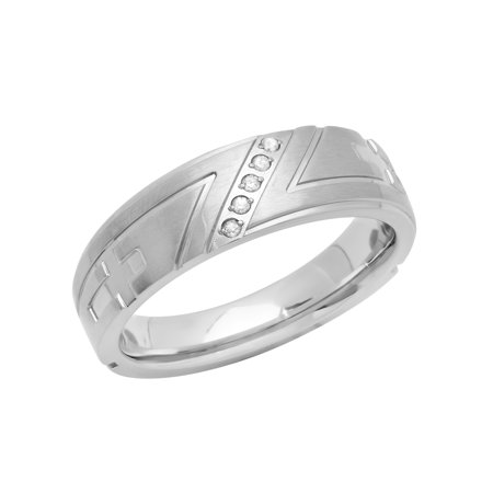 Men's Diamond Accent Stainless Steel Tapered Cross (Round Brilliant With Tapered Baguettes Engagement Ring)