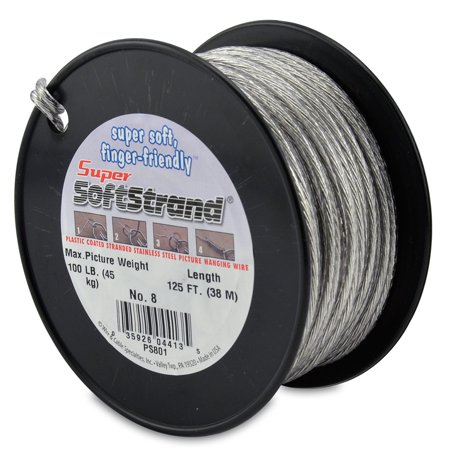 SuperSoftstrand Size 8 -125-Feet Picture Wire Vinyl Coated Stranded Stainless Steel 316 Stainless Steel Wire