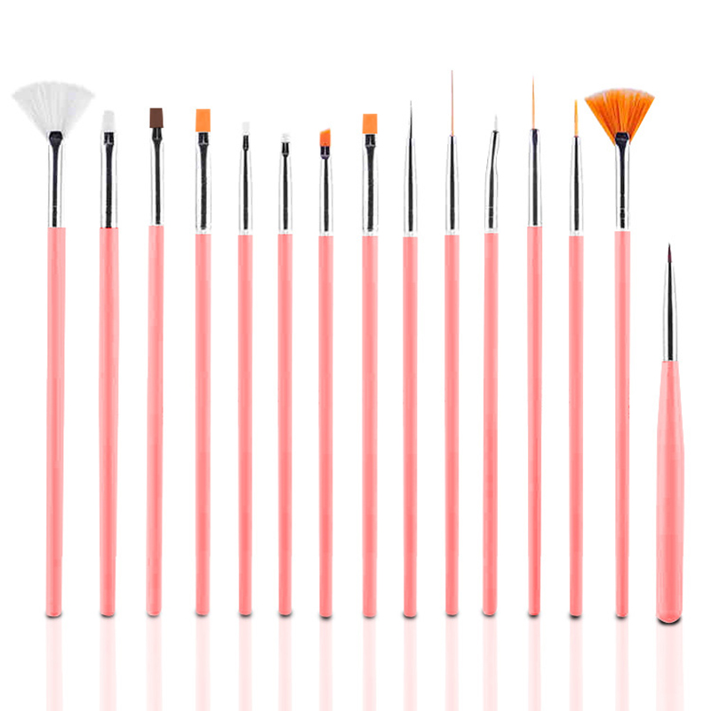 15 Pcs Nail Brush Set Professional Painting Pen for False Nail Tips UV Nail Gel Polish Art Decorations Tools - Pink