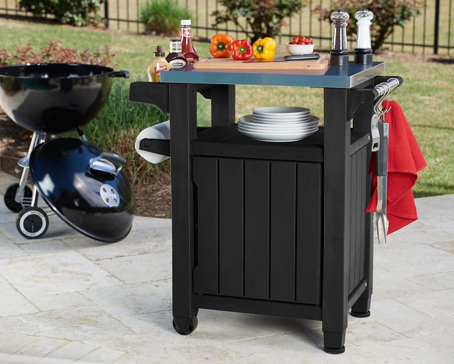 Keter Unity Resin Serving Station, All Weather Plastic And Metal Grill,  Storage And Prep Table, 40 Gal, Brown   Walmart.com